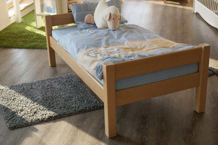 juniorenbett inkl rollrost u matratze buche lackiert 80 160 cm dahlhaus. Black Bedroom Furniture Sets. Home Design Ideas